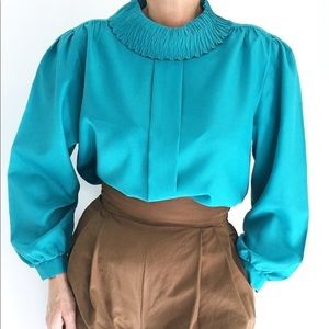 Pilgrim Collar Turquoise Pleated Blouse